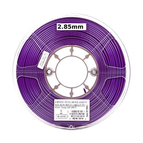 eSUN 3D 3mm PETG Solid Purple Filament 1kg (2.2lb), PETG 3D Printer Filament, Actual Diameter 2.85mm +/- 0.05mm, Solid Opaque Purple
