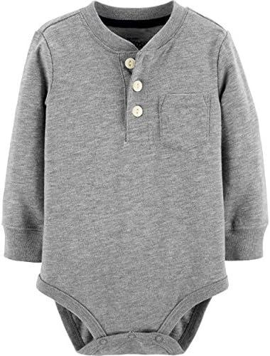 OshKosh B Gosh baby boys Pocket Bodysuits Henley Shirt Grey 18 24 Months US product image