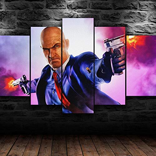 5 piezas de pintura artística enmarcada – Agent 47 Game Poster Gamer – Impresión sobre lienzo para sala de estar, dormitorio, cocina, hogar, decoración moderna, decoración de cuadros de 100 x 55 cm
