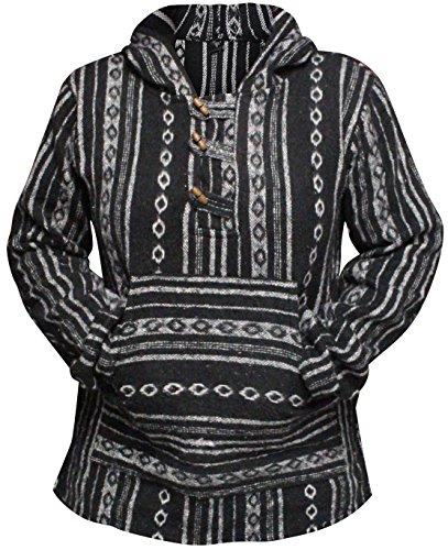 SHOPOHOLIC FASHION Damen Mehrfarbig Hippie Kapuzenpullover Boho Baja - Schwarz, XL