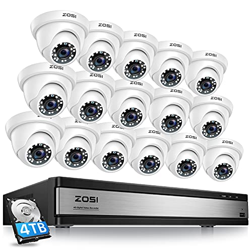 ZOSI H.265+ 1080p 16 Channel Security Camera System,16 Channel CCTV DVR with Hard Drive 4TB and 16 x...