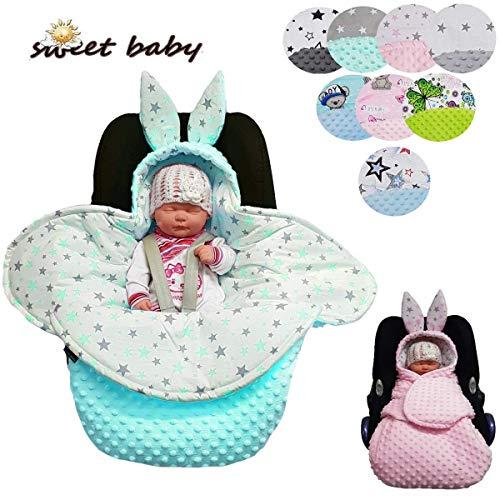 Sweet Baby ** Einschlagdecke MINKY BUNNY ** Universal für z.B. Maxi Cosi Babyschale, Autositz, Kinderwagen, Babybett etc. (Bunny Rosa)