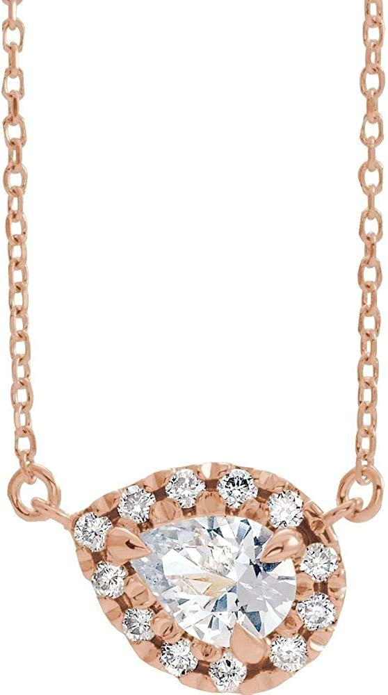 14kt Rose Gold 7x5mm Pear White Sapphire security Diamond 1 18