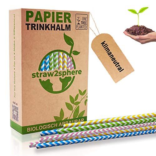 Straw²Sphere® Strohhalm Papier | 160 St. | 1 Baum für jeden Kauf | | biologisch abbaubare Strohhalme | Strohhälme Kinder | Cake Pop Stiel | gewellt