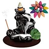 DK177 Waterfall Incense Holder Backflow Cone Ceramic Burner Handcrafted Porcelain Censer Incense Stick Stand with 20 Free Cones