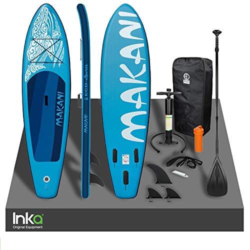 Inka - Tabla de surf inflable Makani de alta calidad, 320 x 82 x 15 cm, peso de transporte de hasta 150 kg, viene con kit de reparación y accesorios (azul)
