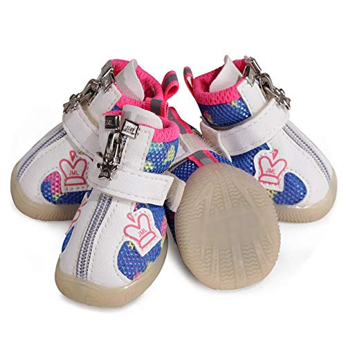 KDXBCAYKI net voor huisdieren, comfortabele en ademende schoenen voor huisdieren, veiligheidsschoenen van nylon, reflecterend, bescherming, loophulp, 2#, Roze
