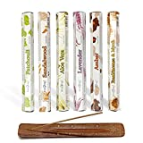 Nakshatra® Stamford Exotic Incense Sticks - 6 Different Fragrances Gift Pack With NAKSHATRA Wooden Ash Catcher | Total 120 Long Burning House Fragrance | For Meditation Yoga Relaxation Reiki