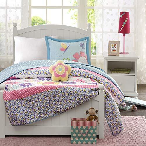 Mizone Kids Ganzjahres-Kinder-Bettwäsche, dekoratives Kissen, Mädchen-Schlafzimmer-Dekor, Polyester, verrücktes Gänseblümchen-Blumen-Garten, Full/Queen