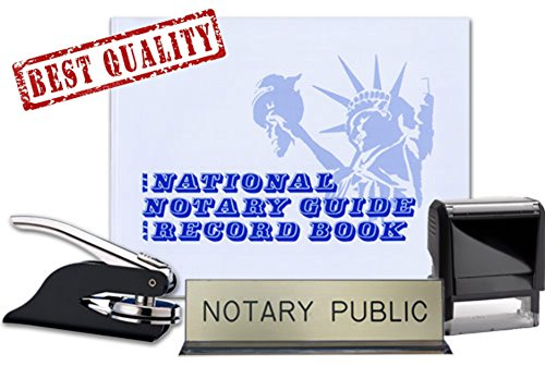 Notary Journal, Self Inking Stamp, Black Pocket Seal Embosser, and Notary Public Desk Sign Bundle | South Carolina