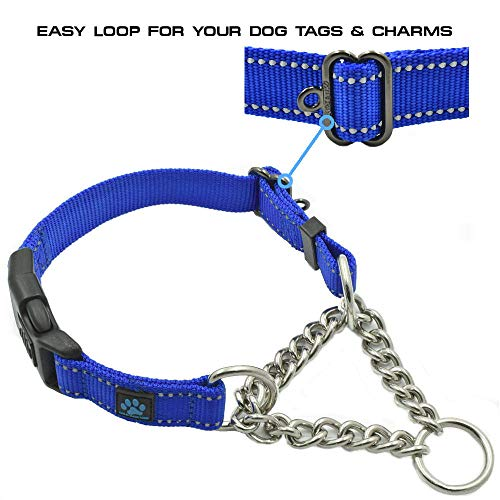 Max and Neo Stainless Steel Chain Martingale Collar - We Donate a Collar to a Dog Rescue for Every Collar Sold (Small, Black)