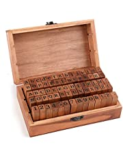 Tosnail 70 Pieces Rustic Mini Wood Rubber Stamps Letter Stamps Alphabet Stamps with Storage Box for Scrapbook, Card Making, Crafts