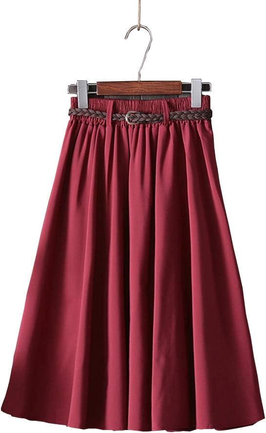 YYIXING Charming Woman Dress, Summer Knee Length Half Slip Skirt, Solid Color Wrinkled High Waist Skirt with Elasticated Belt