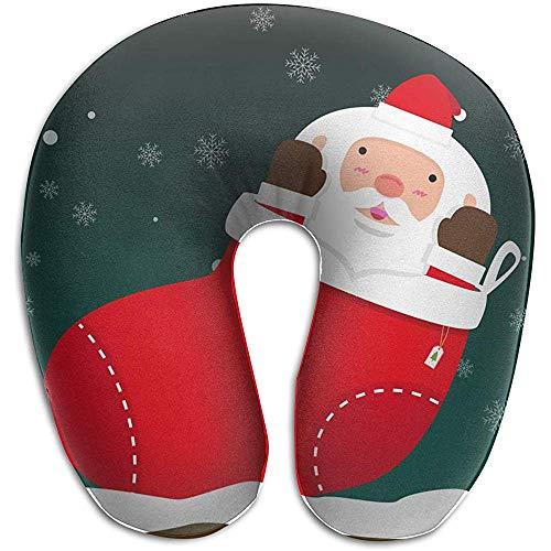 U-Shape kussen, schattig vet grote kerstman komen uit Kerstmis U-Shape reizen kussen ergonomisch geronde ontwerp wasbare cover voor vliegtuig trein auto bus kantoor