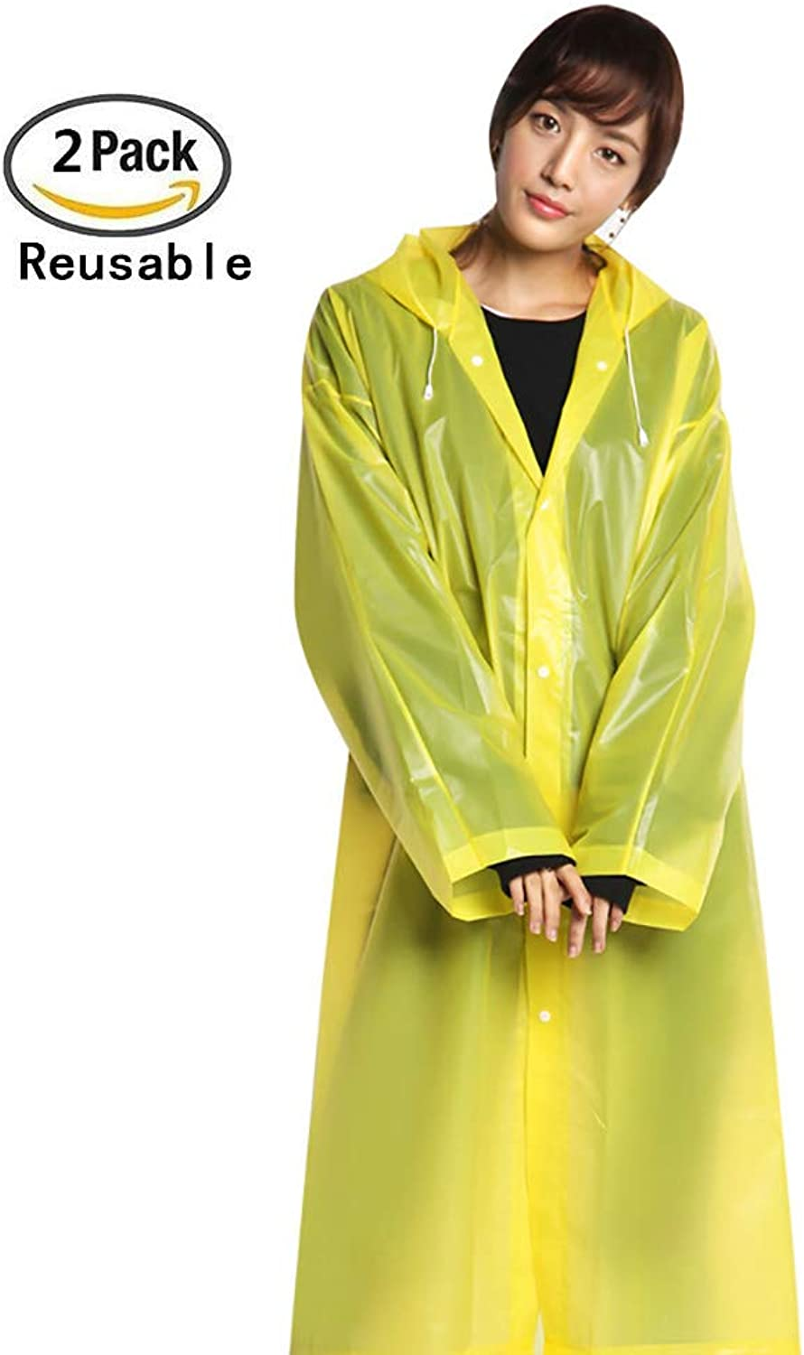 Raincoat, Portable Adult Translucent Hooded Rain Raincoat with Sleeves,Reusable Waterproof Portable Raincoat for Camping,Travel,Mountaineering, Reusable EVA Material,Yellow