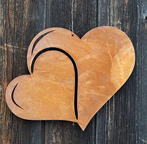 Edelrost Herz breit Doppeloptik groß 28x22cm zum Hängen Muttertag Valentinstag