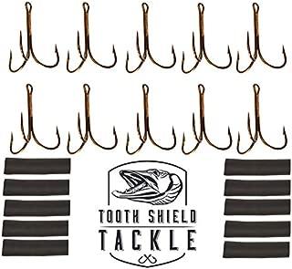 Mustad 10 Pack 3551-BR 7/0 Treble Hooks - Heat Shrink - Double Cowgirl Bucktail Repair Kit