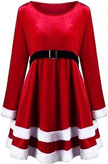 Christmas Fashion Womens Merry Christmas Velvet Long Sleeve O-Neck Red Festival Dress