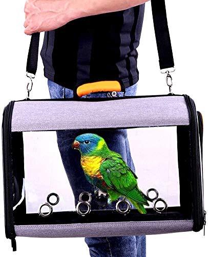IDAS Bird Travel Cage, Leichter transparenter Bird Travel Carrier, transparenter Papageien-Reisekäfig aus PVC Atmungsaktiver Pet Birds Bag-Rucksack mit Schultergurt und Holzstäbchenständer (Orange)