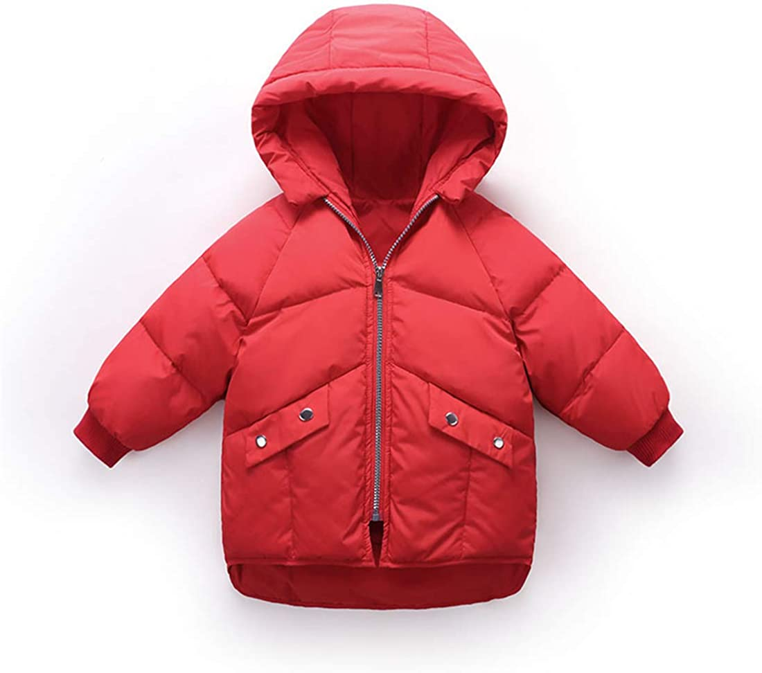 QingCheng Kids' Winter Hooded Thickened Puffer Jacket Boys' Girls' Duck Down Jacket Parka