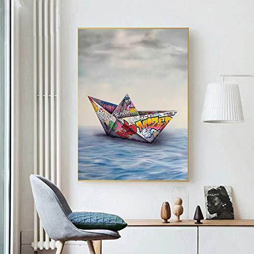 N/A Pintura de Lienzo Impresión Decoracion Cuadro Papel Origami Barco Graffiti Pared Arte Lienzo Pintura Carteles e Impresiones Cuadros de Pared para Sala de Estar decoración del hogar