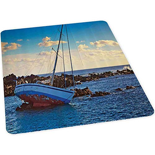 Computer Chair mat, Yacht in The Sea Surrounded by Ledge Rocks Coastal Incident Shroud Crash Scene, 30' x 47' Chair mats for Carpeted Floors