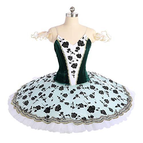 QSEFT Balletto Professionale Schiaccianoci Tutu Nero Tessuto di Velluto Verde Ballerina Danza Classica Balletto Costumi Tutu Gonna,Childsize14