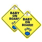 WildAuto 2pcs Bébé à Bord Signe pour Voiture, Autocollants D'avertissement de Sécurité Réfléchissante Magnétique de Voiture pour Véhicules (Jaune)