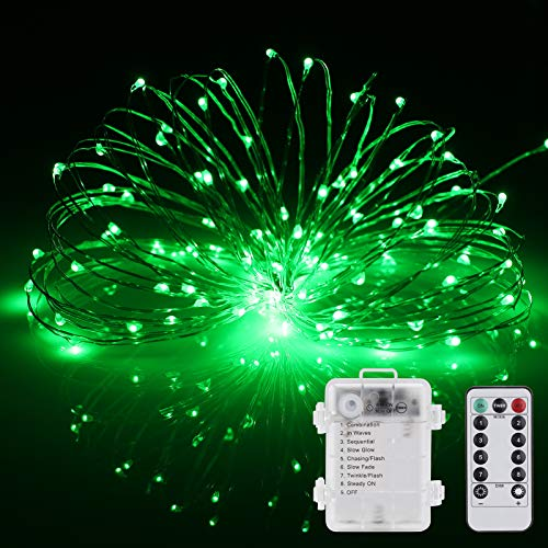 St. Patrick's Day Fairy Lights Battery Operated 2Pack 33ft 100LED String Lights Remote Control Timer Twinkle String Lights 8 Modes Firefly Lights for Garden Valentines Day Wedding Birthday Party Deco