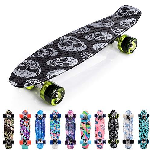 meteor Skateboard Kinder - Mini Cruiser Kickboard - Skateboard mädchen Rollen Board - Kunststoff Skateboards Deck - Retro Skateboard Jungen Mini Board - Skateboard Kinder miniboard (Skulls)