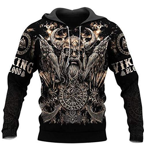 Herren 3D-Digital Druck Hoodie, Rabe, Axt, Viking Odin Symbol Pullover, Harajuku Streetwear, Kapuzen Jacke, Sweatshirt, Sportswear, Langarm Top,A,5XL