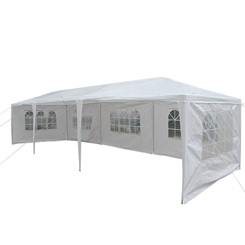 Veryke 10 x 30 ft Outdoor Gazebo Canopy White Waterproof Wedding Canopy Party Tent Spiral Tubes w/Removable Sidewalls & Brighter Church Windows,5 Sides