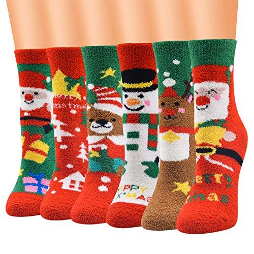 Calcetín-10 pares de calcetines mixtos de Navidad borrosa tripulación dibujos animados Santa invierno cálido calcetín regalo