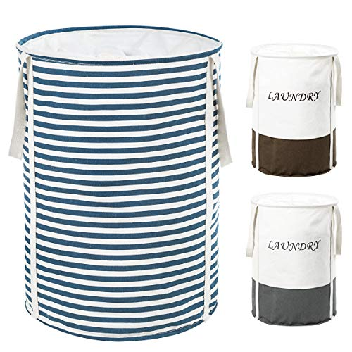 ZERO JET LAG 22 in Collapsible Laundry Hamper with Handles Drawstring Round Cotton Basket Hamper Storage(Blue Strips)