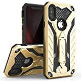 Zizo Static Series Compatible with iPhone X case with Kickstand Military Grade Drop Tested Impact Resistant Heavy Duty Case iPhone Xs Gold Black