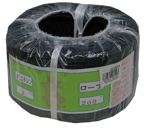 まつうら工業 ポリエチレン製 ロープ 太さ3mm 長さ200m 黒 丸巻