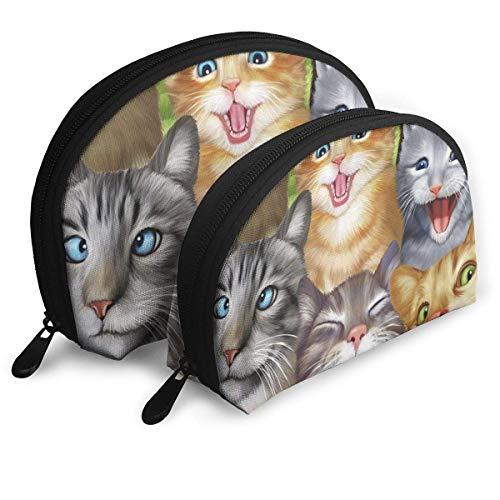 Cats Selfie Portable Bags Clutch Pouch Coin Purse Cosmetic Travel Storage Bag 2Pcs Handbag