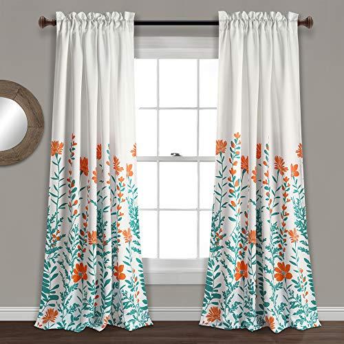 "Lush Decor Aprile Room Darkening Curtains-Floral Leaf Design Window Panel Drapes Set for Living, Dining, Bedroom (Pair), 84"" x 52"", Orange and Turquoise, Orange & Turquiose"