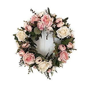 Silk Flower Arrangements Adeeing 13'' Peony Flower Wreath Handmade Pink Floral Wreath Artificial Spring Garland Wreath for Front Door Wall Wedding Party Home Decor