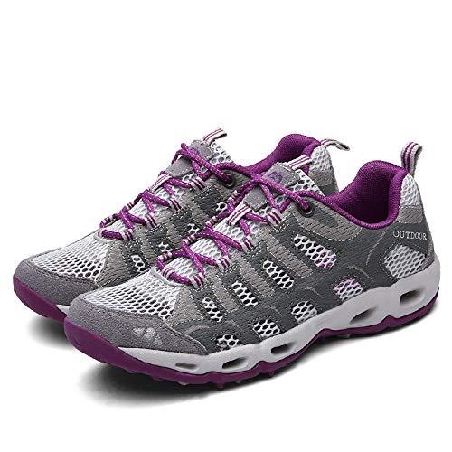 Aerlan Men's and Women's Sports Shoes,Zapatillas con Suela pisada,Zapatillas Deportivas Transpirables Zapatillas Deportivas Casuales Zapatillas de Malla para Correr-Gris Claro_37#
