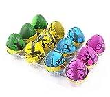 XICHEN® 12 x Huevo de dinosaurio lindo huevo mágico de dinosaurio añadir agua niño regalo incubación juguete inflable (rojo, amarillo, azul, verde)