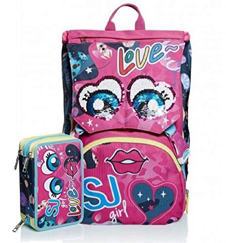 Schoolpack Zaino Seven SJ Gang Facce Girl Love Estensibile + Astuccio 3 Zip Completo