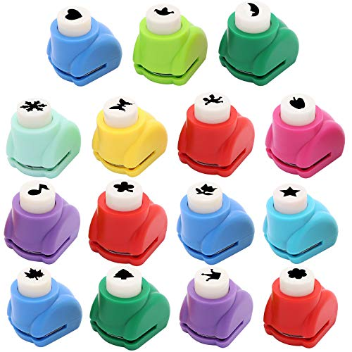 15pcs Mini Paper Craft Punches, Colorful Crafts Hole Punch Shape Puncher Paper Scrapbooking Punches Craft DIY Printing Shaper Puncher for Crafting & Fun Projects