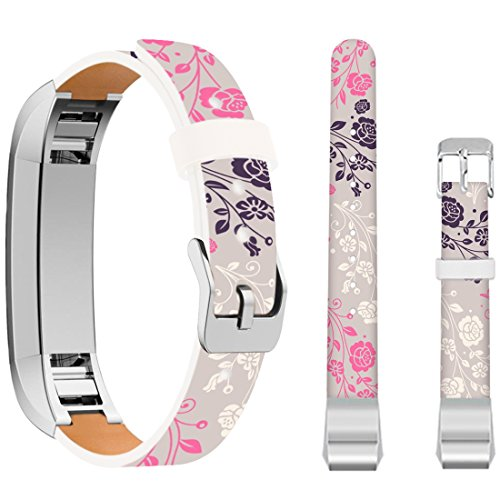 for Fitbit Alta Leather Bands Floral,Ecute Leather Replacement Bands Strap for Fitbit Alta/for Fitbit ALTA HR Watch - Grey Back and Pink and Black Flowers