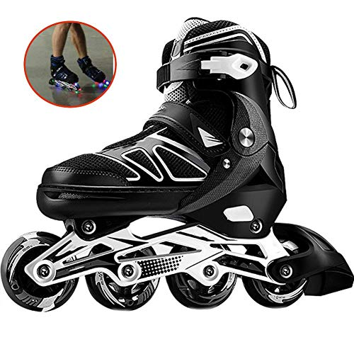 XJBHD Pattini in Linea per Donne e Uomo Carbonio Rollerblade Professionale Pattini a Rotelle Pattini Comodi Scarpe Speed Skating Ldeali per Principianti per Adulti Sport Outdoor Black-38 to 41