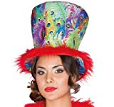 Mottoland Damen Hut Pfau Zylinder, Kostüm-Zubehör Pfauenhut Einheitsgröße Fasching Karneval