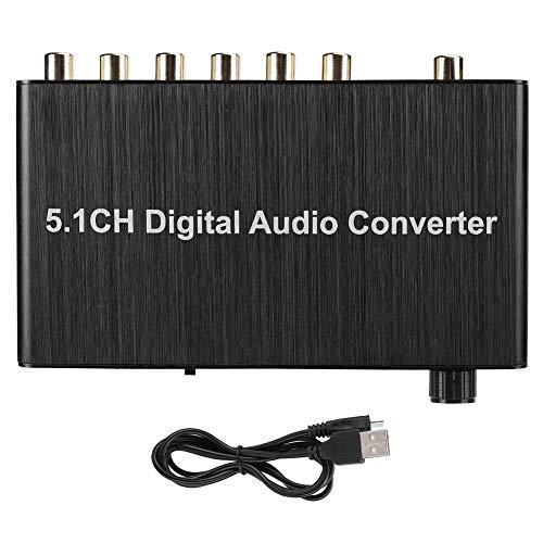 Conector de Audio Digital de 5.1 Canales, decodificador de Audio Digital, coaxial o para Toslink a 5.1 Canales para escuelas para hogares(Black)