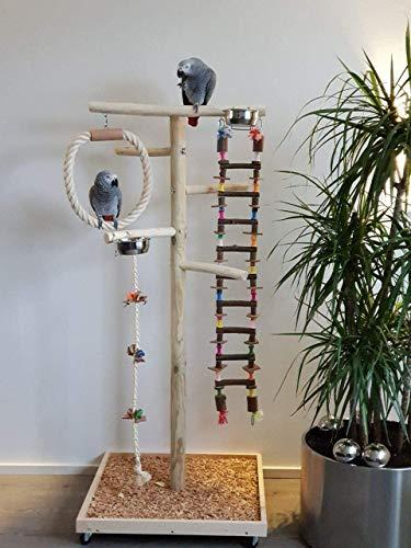 Kletterbaum aus Holz Papageien Freisitz HÄNGEBRÜCKE Papageienspielzeug 1,60