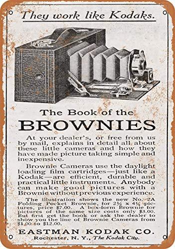 Lplpol 1910 Eastman Kodak Brownie Cartel de aluminio para interiores o exteriores vintage de metal de 25,4 x 35,6 cm