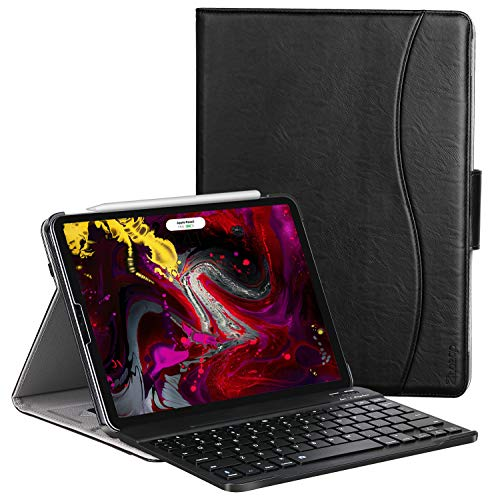 Ztotop Case for iPad Pro 11 Inch 2018 Release, Premium Leather Business Slim Multi-Angle Viewing Folding Stand Cover with Auto Wake/Sleep (B-Black(with Keyboard))